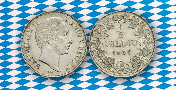Bayerischer 1/2 Gulden mit dem Abbild von König Maximilian II., 1850