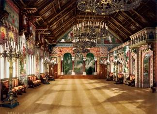 Sängersaal auf Schloss Neuschwanstein, kolorierte Fotografie von Joseph Albert, 1886