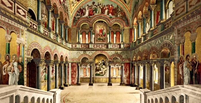 Thronsaal auf Schloss Neuschwanstein, kolorierte Fotografie von Joseph Albert, 1886