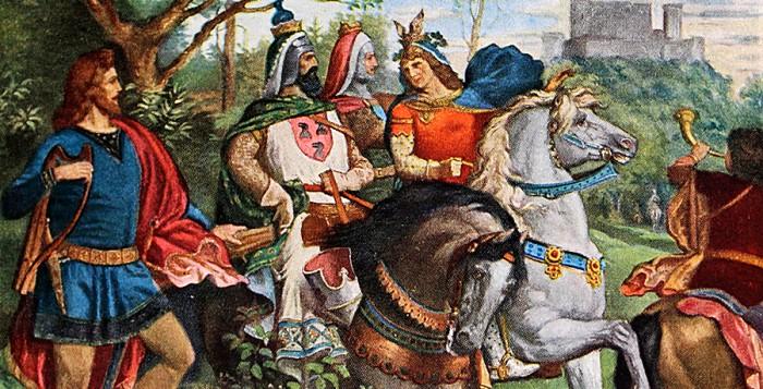 Tannhäuser auf dem Weg zur Wartburg, Neuschwanstein, Arbeitsszimmer des Königs, Gemälde von Josef Aigner