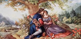 Walter von der Vogelweide - Unter der Linde, Neuschwanstein, Ankleidezimmer, Gemälde von Eduard Ille,