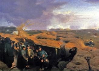 Die Frage der Vorherrschaft in den Gebieten von Schleswig und Holstein, die Preußen und Österreich im Krieg 1864 gegen die Dänen erbeuteten, war Vorwand für den preußisch-östereichischen Krieg. Das Gemälde von Jørgen Valentin Sonne zeigt die Schlacht bei Düppel, die Entscheidungsschlacht im Deutsch-Dänischen Krieg