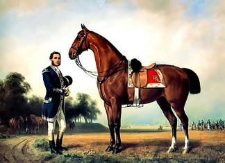 Hagibert, ein Pferd von König Ludwig II. von Bayern, Ölgemälde, Friedrich Wilhelm Pfeiffer