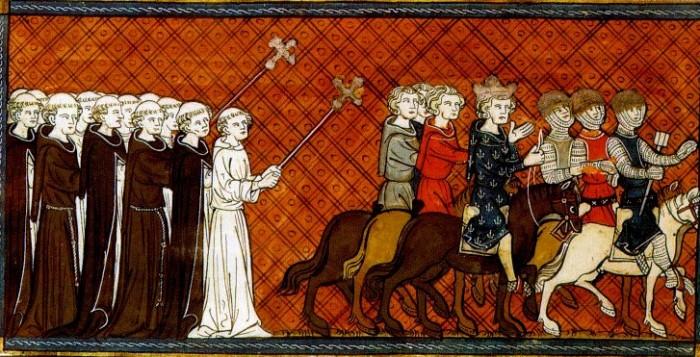 Ludwig der Heilige bricht 1248 zum Kreuzzug auf, Darstellung aus dem 14. Jahrhundert – Quelle: wikipedia