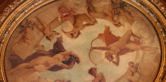 """Gemälde """"Der Tag jagt die Nacht"""" von Paul Baudry, Deckengemälde im Hôtel de la Païva (Paris) – Foto: Binche / wikimedia.org"""