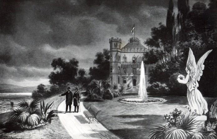 König Ludwig II. mit Professor von Gudden beim letzten Gang im Park von Schloss Berg, Gemälde von Perlberg, fotografiert von Stuffler