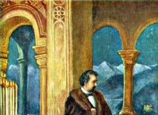 König Ludwig II. und Richard Wagner vereint in Schloss Neuschwanstein, Gemälde