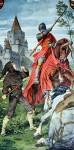 Am Hofe Hofe von Artus bekommt Parzival seine erste Bewährungsprobe im Kampf mit dem roten Ritter. Er besiegt ihn im Kampf und gewinnt dessen Rüstung und Pferd.