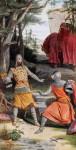 Parzival trifft mit einem heidnischen Ritter zusammen. Nach erbittertem Kampf entdeckt er in diesem seinen Halbbruder Feirefiß.