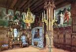 Schloss Neuschwanstein Schlafzimmer von König Ludwig II. - Kolorierte Fotografie