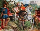 Aus dem Venusberg flieht Tannhäuser als ein reuhiger Ritter. Auf dem Weg begegnet er zählreichen rittern, die auf dem Weg zur Wartburg sind.