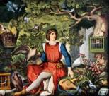 Jung Walter auf einem einsamen Burggehöfe seines Vaters unter Falken und Vöglein aller Art sitzend und, sie ätzend und pflegend, auf ihren Gesang lauschend.