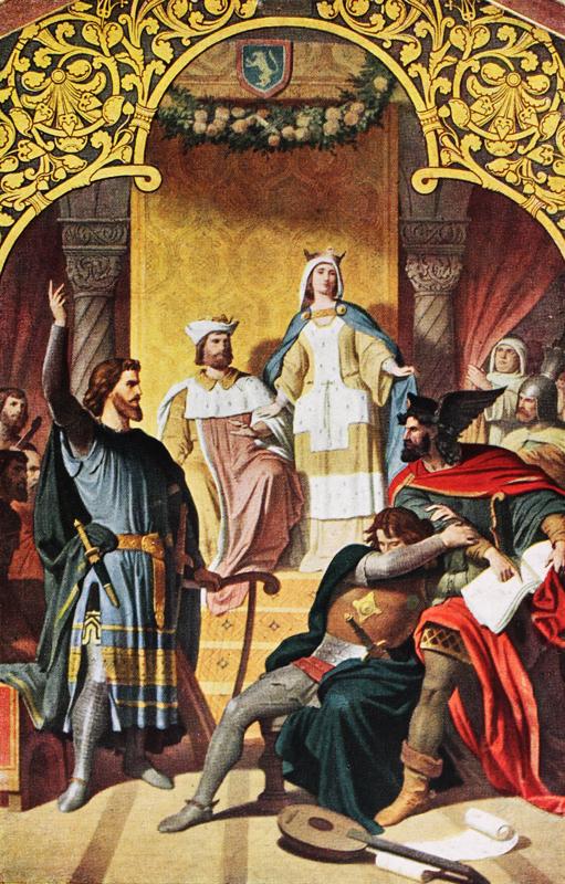Walter fordert in begeisterter Rede eine Schar von Rittern zur Teilnahme an dem Kreuzzug auf.