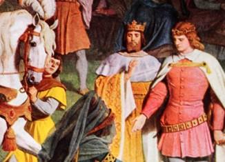 Kundrie beruft Parzival auf Amfortas Thron – Gemälde im Sängersaal Neuschwansteins (Detail)