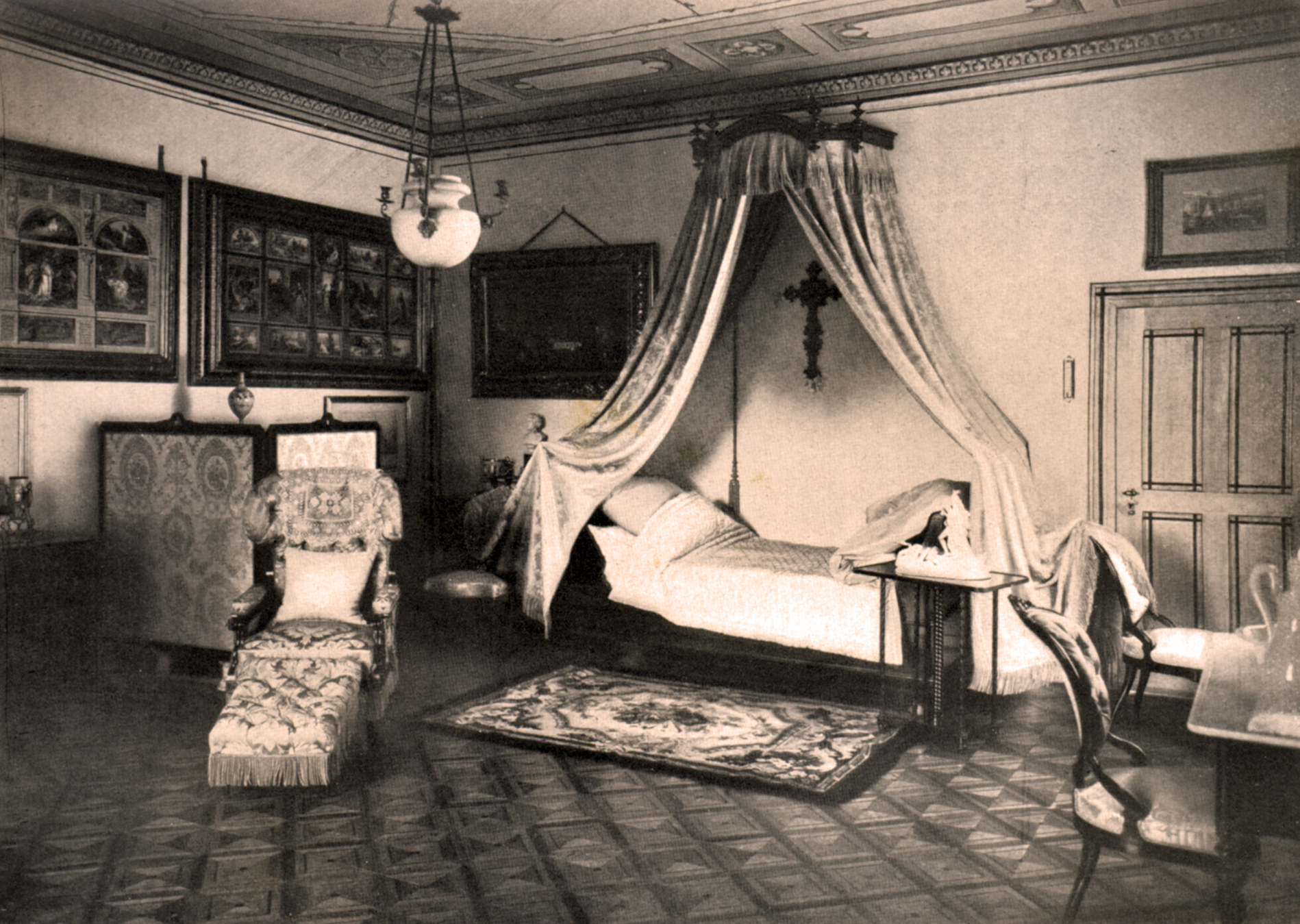 Das Schlafzimmer in Schloss Berg: Nachdem man später die ...