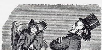 """Wagner auf dem Eis – """"Münchner Kindl: Sie, wenn Sie den Kopf so hoch tragen, geben's Acht, daß S' fein net in das Loch da 'neinfallen!"""" – Karikatur im Münchner Punsch 1865"""